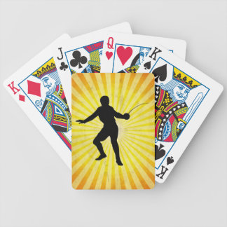 Fencer; Fencing; yellow Bicycle Playing Cards