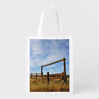 Fences in Field Reusable Grocery Bag