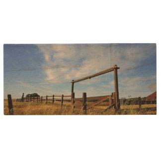 Fences in Field Wood USB 2.0 Flash Drive