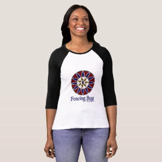 Fencing Bear at Prayer Mandala Logo (With text) T-Shirt