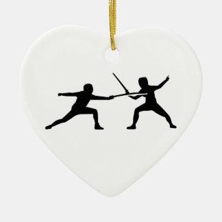 Fencing Ceramic Heart Decoration