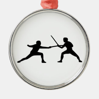 Fencing fencer couple christmas ornament