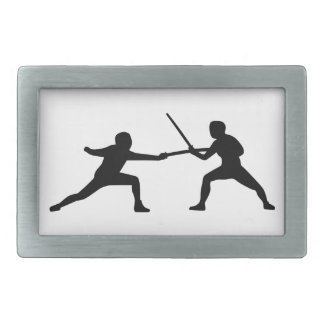 Fencing fencer couple rectangular belt buckles