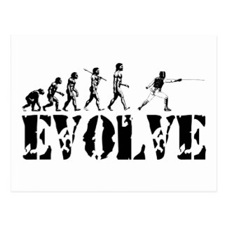 Fencing Fencer Epee Foil Sabre Evolution Sport Art Postcard