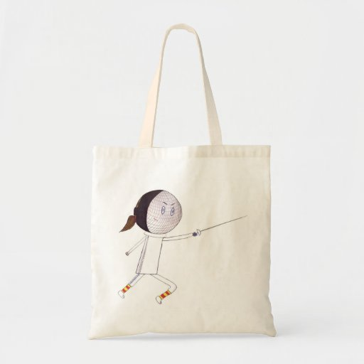 Fencing Girl Tote Bags