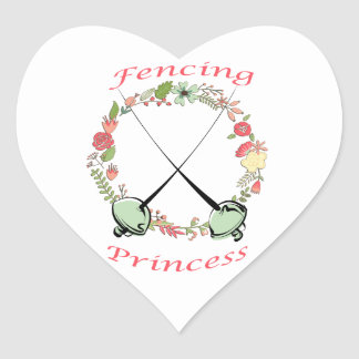 Fencing Princess Floral Foils Heart Sticker