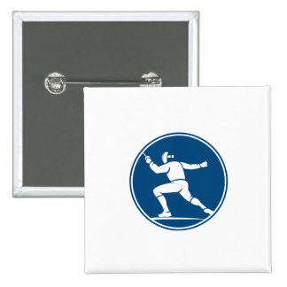 Fencing Side Circle Icon 15 Cm Square Badge