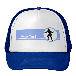 Fencing Silhouette; blue Trucker Hat
