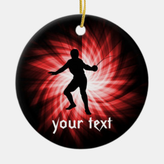 Fencing Silhouette; Red Christmas Ornament