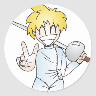 Fencing with Smile Classic Round Sticker