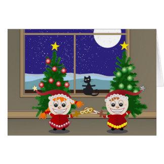 Fencing Xmas Elfs Card