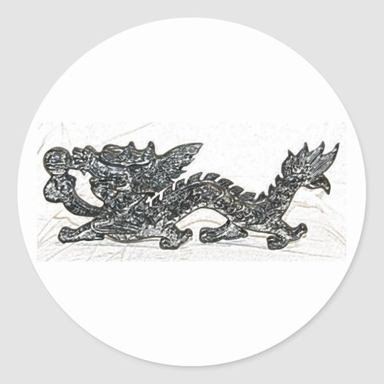 Feng Shui Dragon Classic Round Sticker