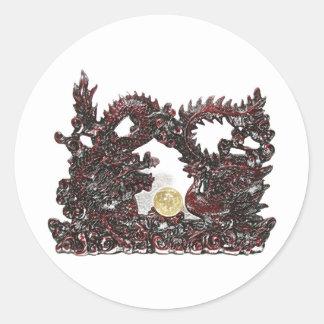 Feng Shui Dragon & Phoenix Classic Round Sticker