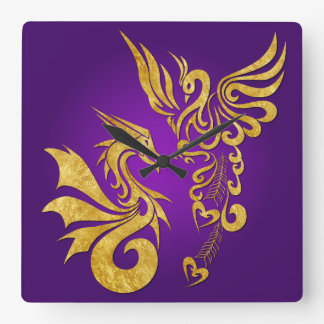 Feng Shui Golden Phoenix & Dragon Clock - purple