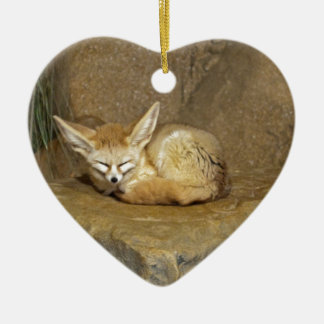 fennec fox ceramic heart decoration