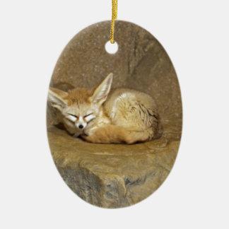 fennec fox ceramic oval decoration