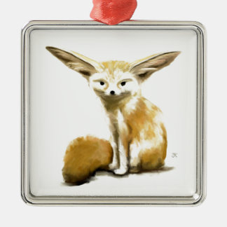 Fennec Fox Silver-Colored Square Decoration