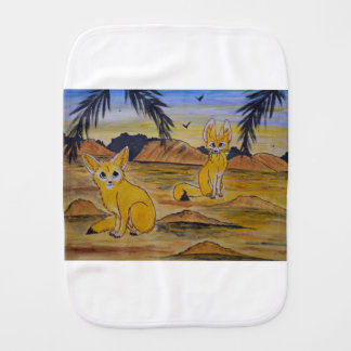 Fennec Foxes in the desert. Burp Cloth