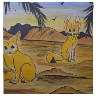 Fennec Foxes in the desert. Napkin