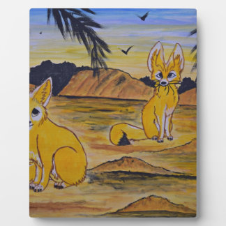 Fennec Foxes in the desert. Plaque