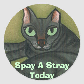 Feral cat, Spay A Stray Today - Customized Round Sticker