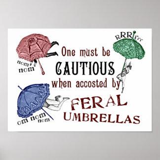 Feral Umbrellas- Victorian Surrealist Poster