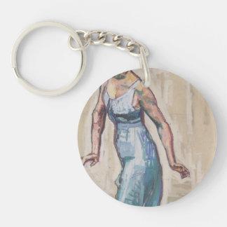 Ferdinand Hodler-Border woman figure in blue Gwand Key Chain