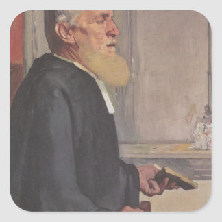 Ferdinand Hodler- The pastor Square Stickers