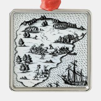 Ferdinand Magellan  Fighting Natives on Island Christmas Ornament