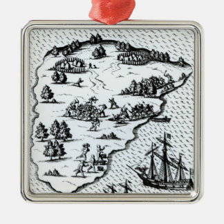 Ferdinand Magellan  Fighting Natives on Island Silver-Colored Square Decoration