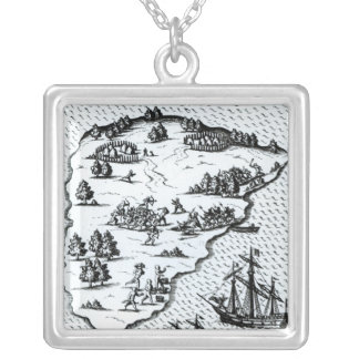 Ferdinand Magellan  Fighting Natives on Island Silver Plated Necklace