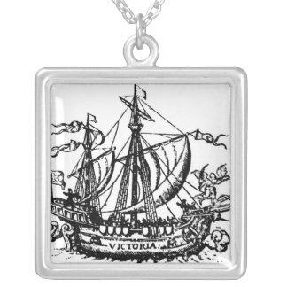 Ferdinand Magellan's boat 'Victoria' Silver Plated Necklace