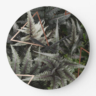 Fern Art Copper rounded wall clock