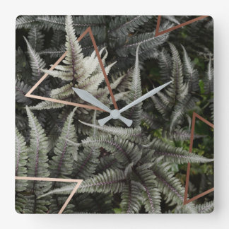 Fern Art Copper square wall clock