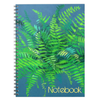 Fern, floral, customizable, greenery, blue & green notebook