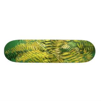 Fern, fronds, floral, green golden yellow greenery custom skate board