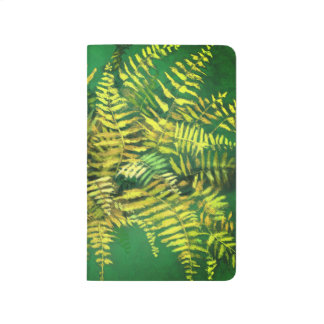 Fern, fronds, floral, green golden yellow greenery journal