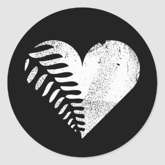 Fern Heart Dark Classic Round Sticker