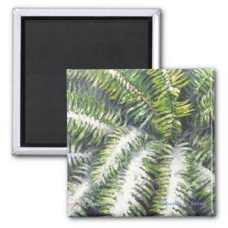 Fern in Snow Square Magnet