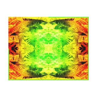 Fern Leaf 2G Light Fractal B Red / Green / Yellow Canvas Print