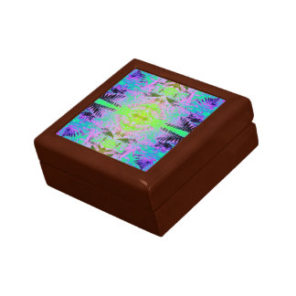 Fern Leaf Blue Grn Fractal Gift Box Golden Oak Sml