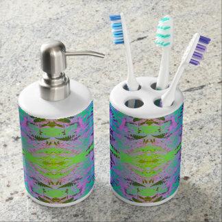 Fern Leaf Fractal blue / green Bathroom Set