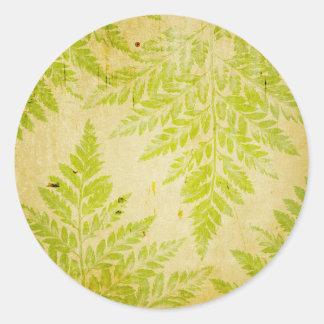 Fern Leaf Stamped Pattern Grungy Background Round Sticker