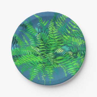 Fern leaves, floral art, blue & green paper plate