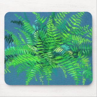 Fern leaves, floral design, greenery, blue & green mouse mat