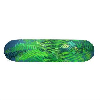 Fern leaves, floral design, greenery, blue & green skateboard decks