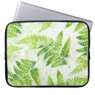 Fern Leaves Green and White Botanical Watercolor Laptop Sleeve