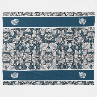 Fern Leaves in a Blue and White Tropical Print Fleece Blanket