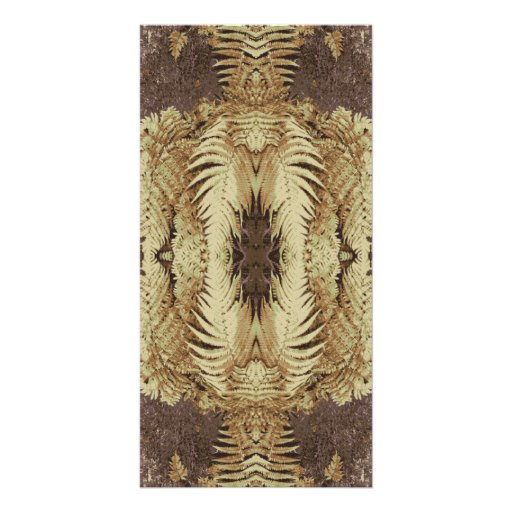 Fern Pattern Graphic. Khaki and brown. Photo Card Template