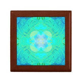 Fern Turquoise Fractal Gift Box Golden Oak Sml